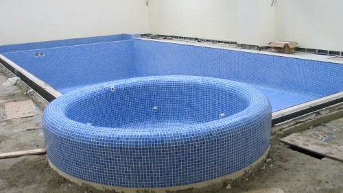 Gunite Pool shell Rendered and Tiled