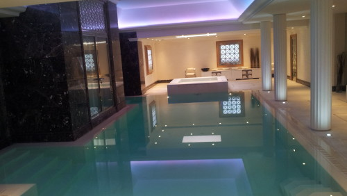 Indoor Pool Gunite concrete construction with a limestone finish